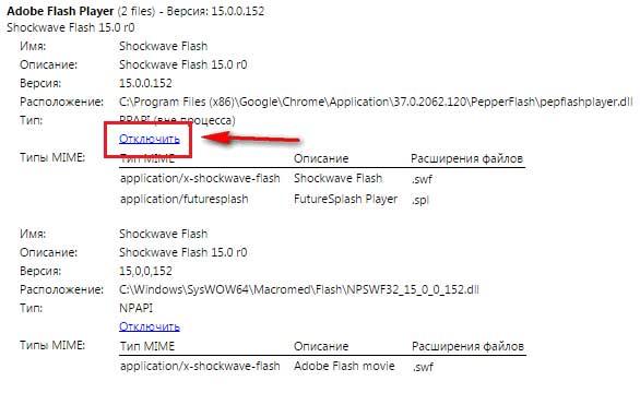 відключення плагінів в браузері